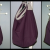 Daily News Bag made with plum and grey ultrasuede fabric