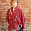 Equinox jacket sewing pattern made in a red and black Chanel tweed