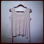 Anns tank made in a black and white stripe ponte knit fabric