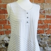 Anns tank made in a striped knit fabric with an added henley neckline
