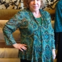 Anns cardigan made in a teal paisley print knit fabric
