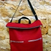 Downtown bag pattern made in red wool with black straps