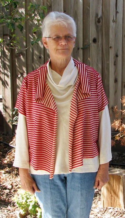 eShrug digital sewing pattern made in red and white stripe knit fabric