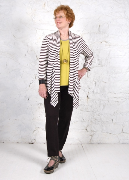 Anns Cardigan sewing pattern in a black and white stripe ponte knit