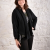 eJacket sewing pattern made in black linen gauze fabric