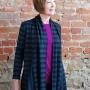 Anns cardigan sewn in a black and grey stripe knit fabric