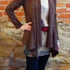 Anns cardigan sewn in a brown sweater knit