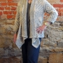 Anns cardigan sewn in a diamond motif sweater knit fabric
