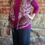 eShrug sewing pattern made in a stretch lace print fabric