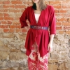 eShrug digital pattern lengthened and made in a red knit fabric